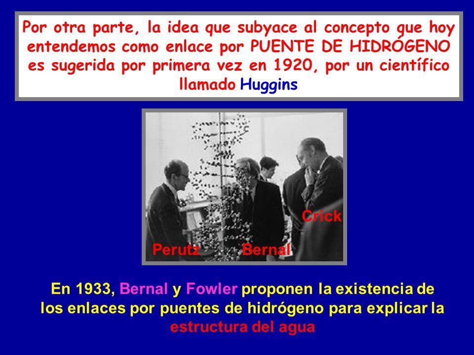 En 1933, Bernal y Fowler proponen la existencia de los enlaces por puentes de hidrógeno para explicar la estructura del agua