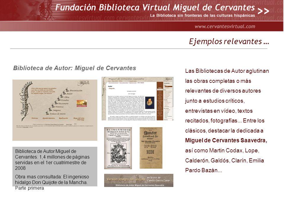 Ejemplos relevantes … Biblioteca de Autor: Miguel de Cervantes