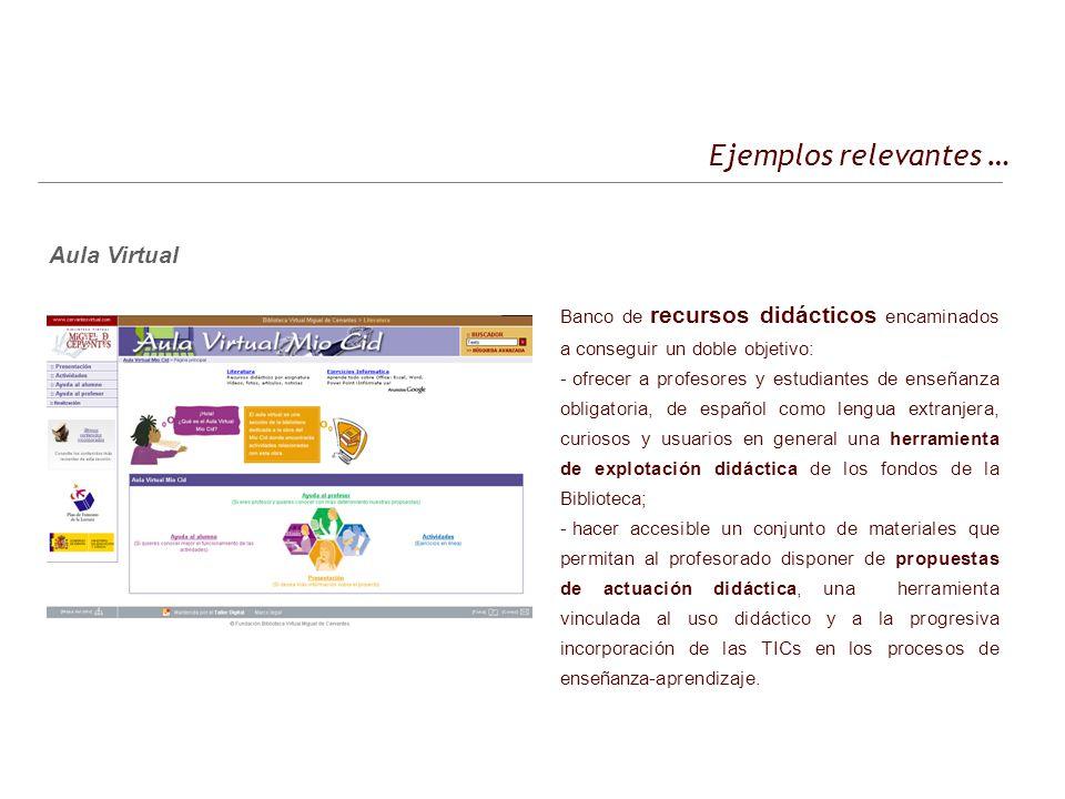 Ejemplos relevantes … Aula Virtual