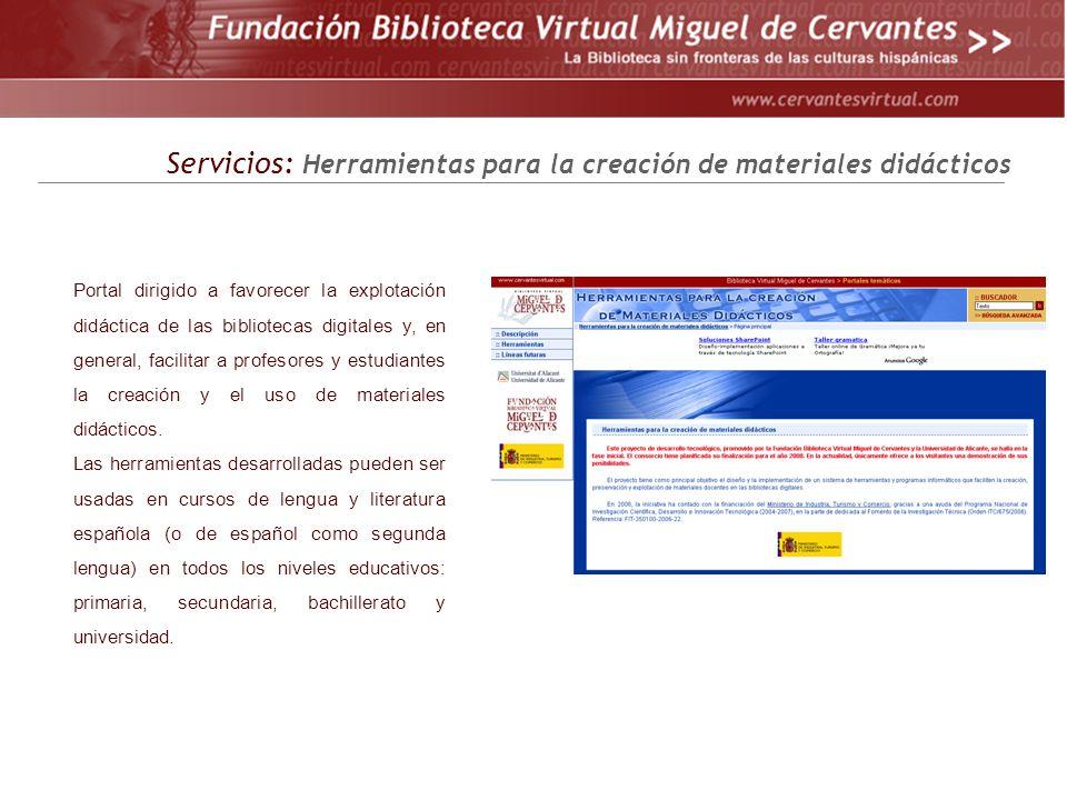 Servicios: Herramientas para la creación de materiales didácticos