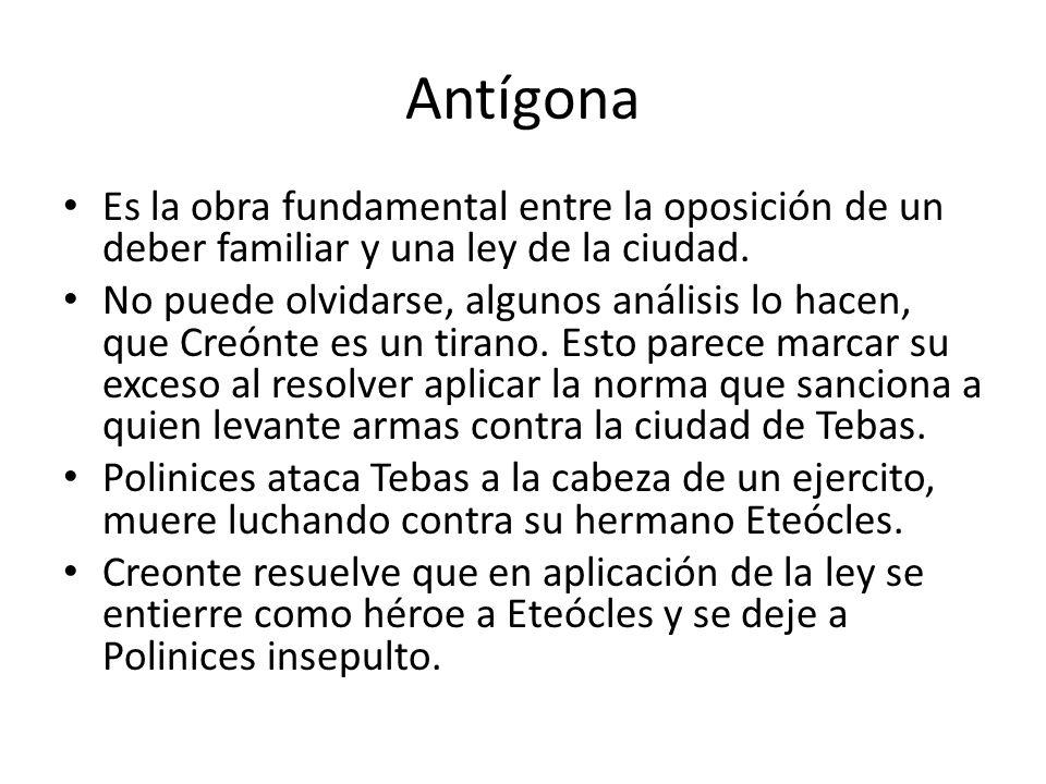 Antígona Es la obra fundamental entre la oposición de un deber familiar y una ley de la ciudad.