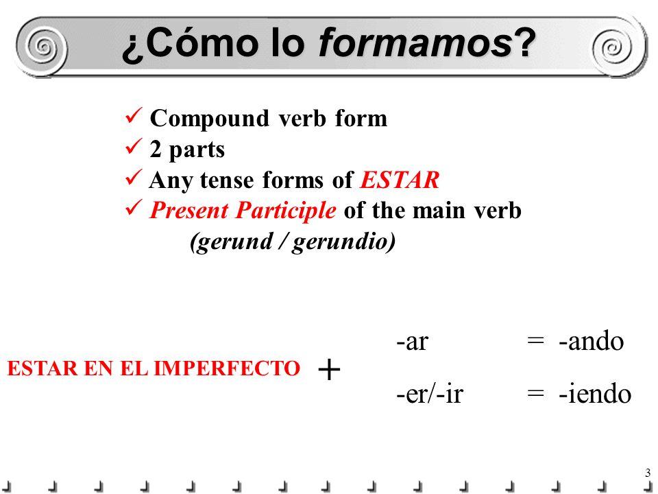 ¿Cómo lo formamos + -ar = -ando -er/-ir = -iendo Compound verb form