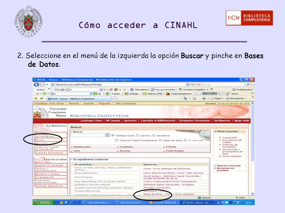 Cómo acceder a CINAHL 2.