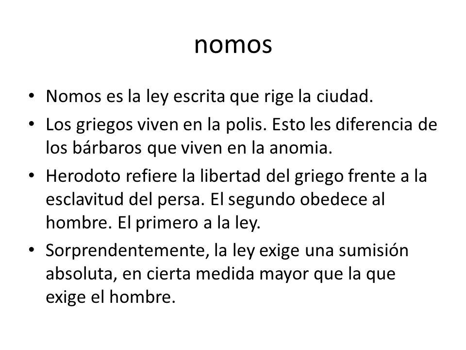 nomos Nomos es la ley escrita que rige la ciudad.