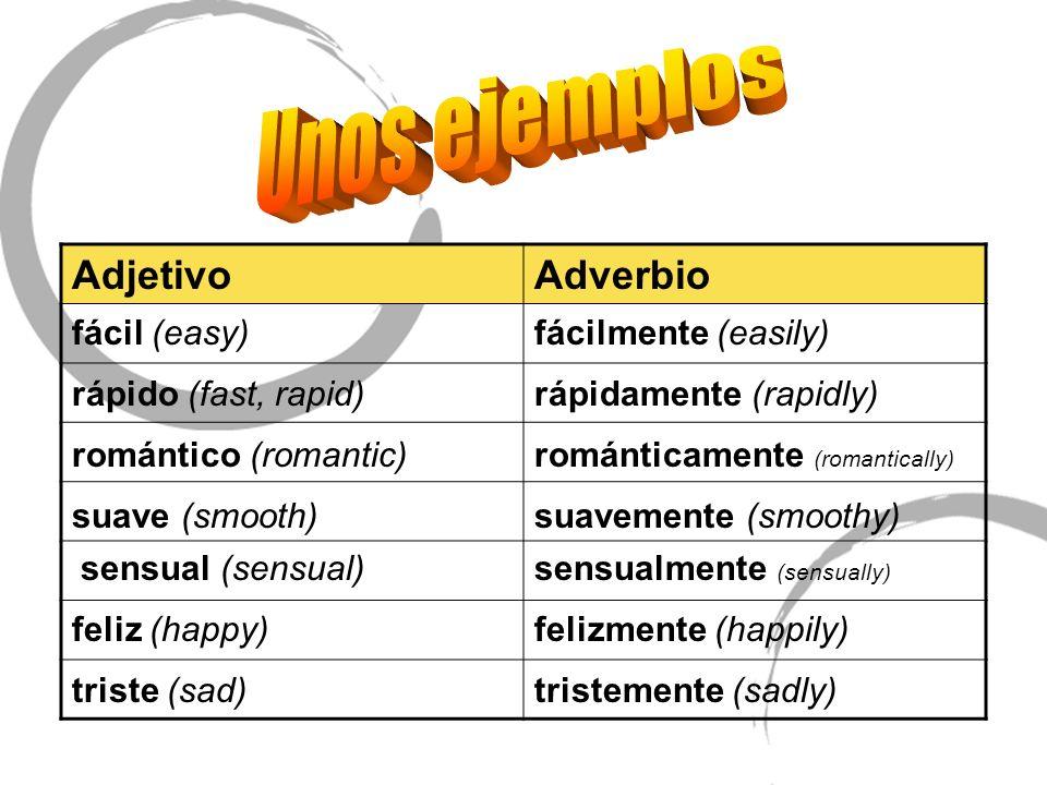Unos ejemplos Adjetivo Adverbio fácil (easy) fácilmente (easily)