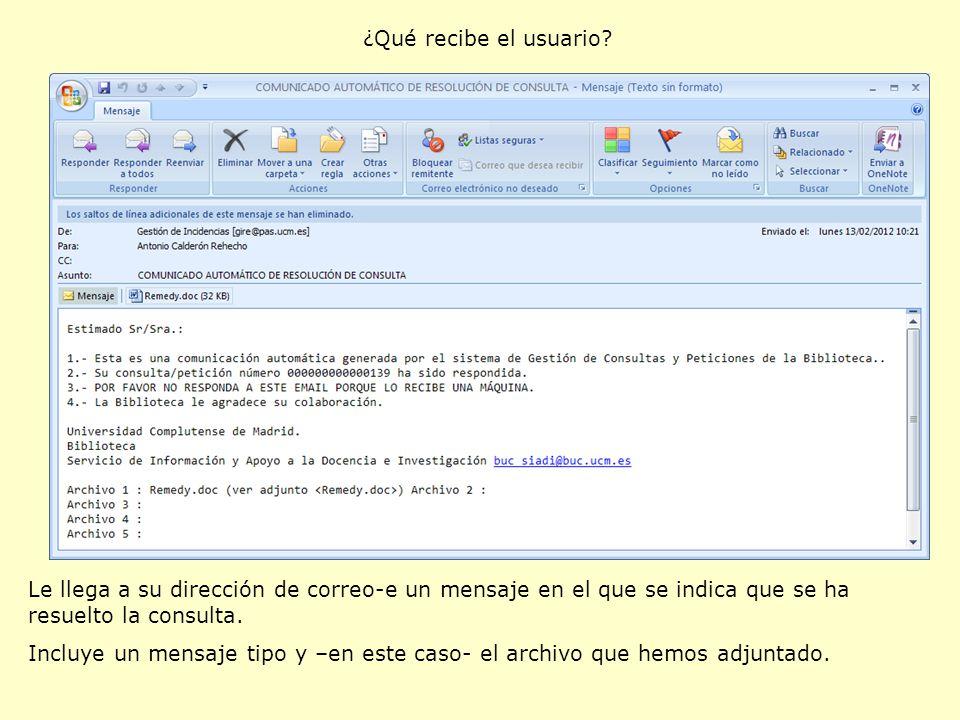 ¿Qué recibe el usuario Le llega a su dirección de correo-e un mensaje en el que se indica que se ha resuelto la consulta.