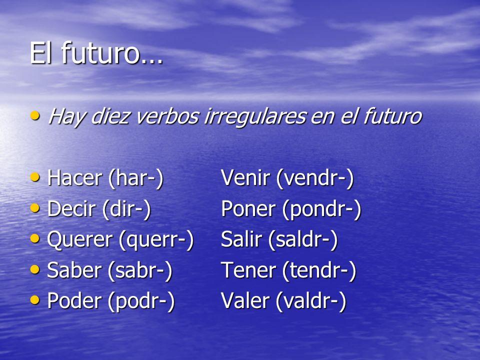 El futuro… Hay diez verbos irregulares en el futuro