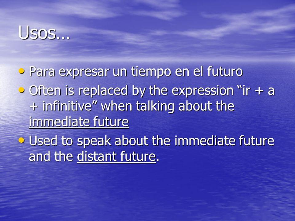 Usos… Para expresar un tiempo en el futuro