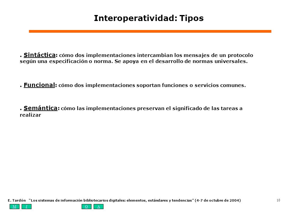 Interoperatividad: Tipos