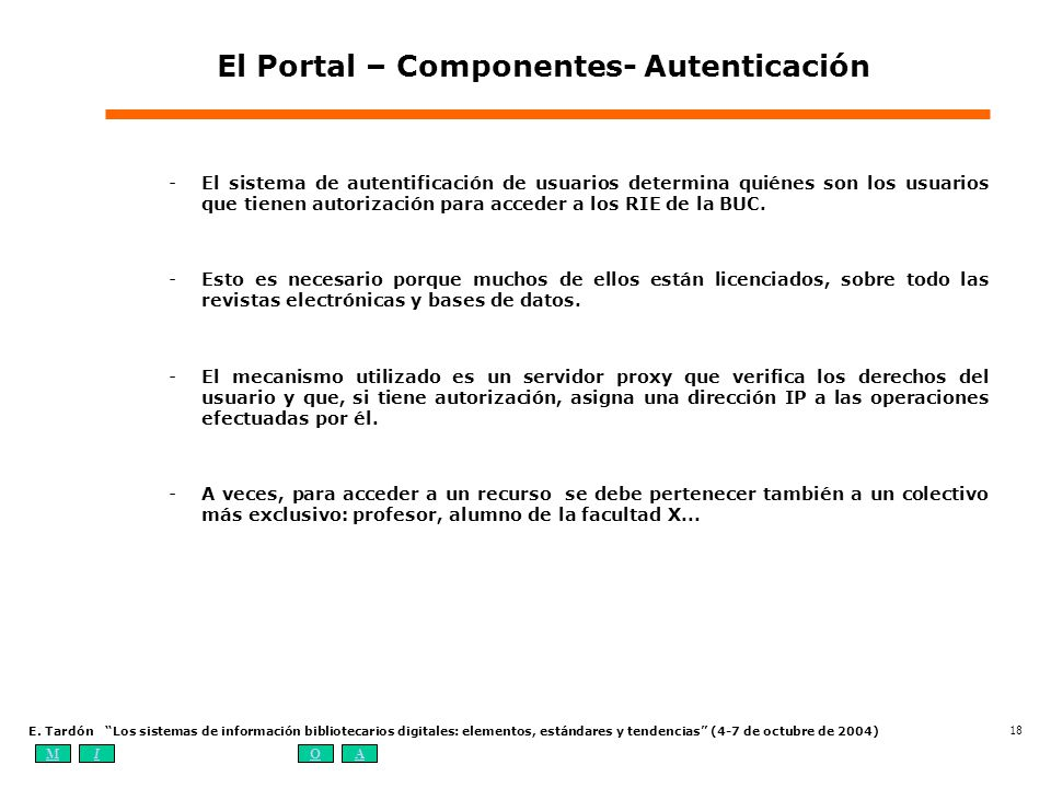 El Portal – Componentes- Autenticación