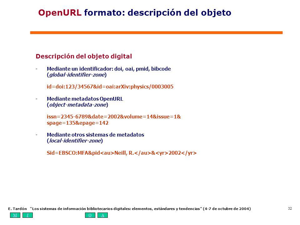 OpenURL formato: descripción del objeto