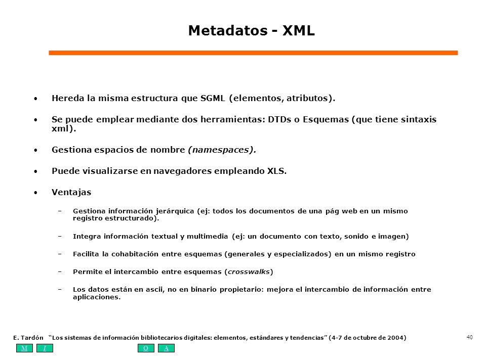 Metadatos - XML Hereda la misma estructura que SGML (elementos, atributos).