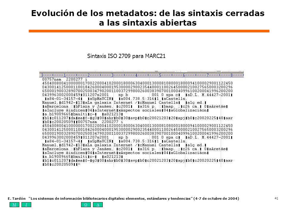 Evolución de los metadatos: de las sintaxis cerradas a las sintaxis abiertas