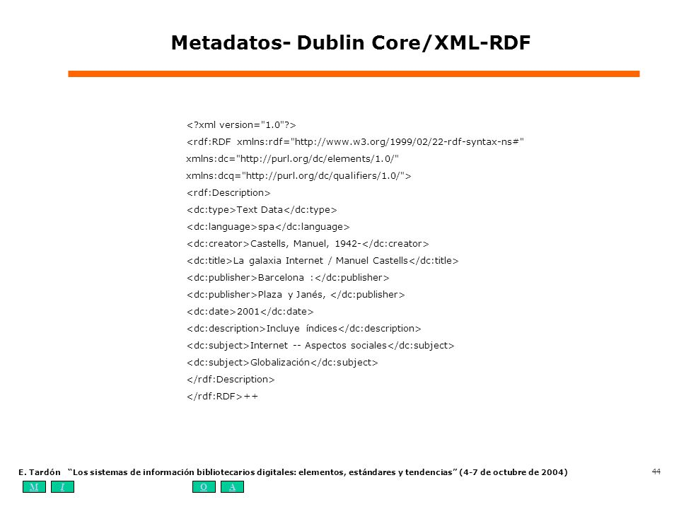 Metadatos- Dublin Core/XML-RDF