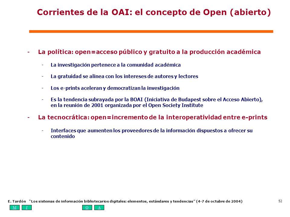 Corrientes de la OAI: el concepto de Open (abierto)