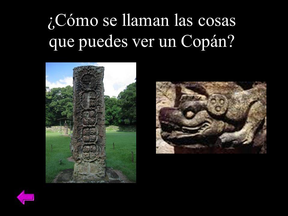 ¿Cómo se llaman las cosas que puedes ver un Copán