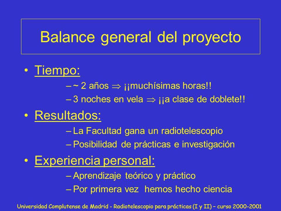 Balance general del proyecto
