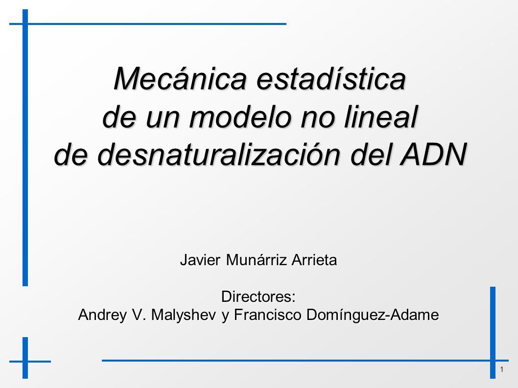 Mecánica estadística de un modelo no lineal de desnaturalización del ADN