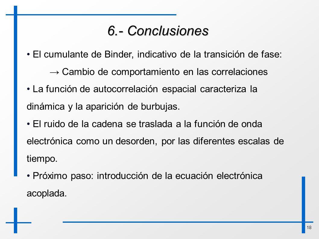 6.- Conclusiones El cumulante de Binder, indicativo de la transición de fase: → Cambio de comportamiento en las correlaciones.