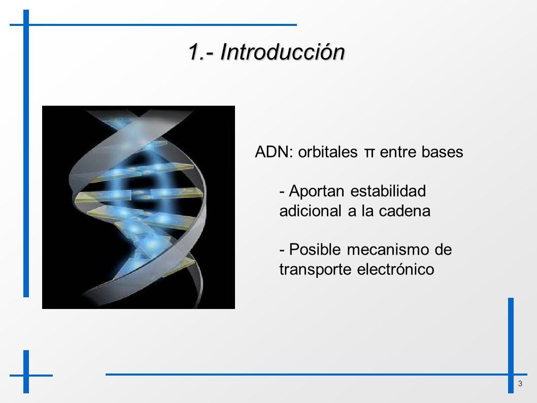 1.- Introducción ADN: orbitales π entre bases