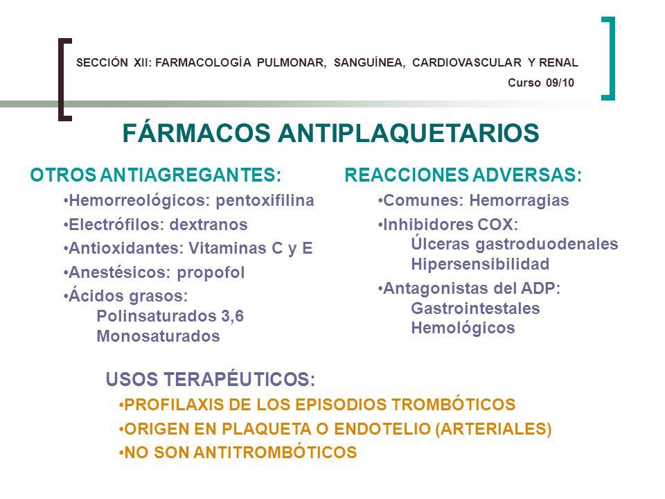 FÁRMACOS ANTIPLAQUETARIOS