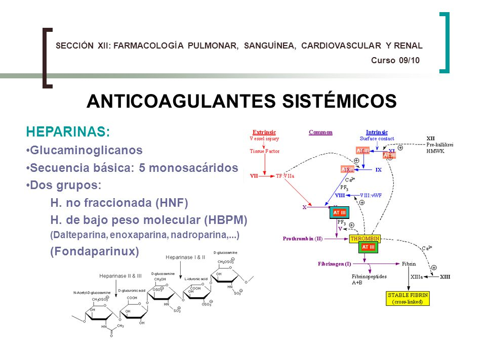 ANTICOAGULANTES SISTÉMICOS