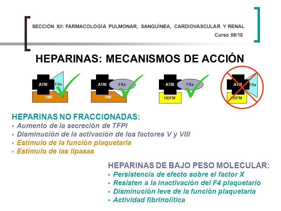HEPARINAS: MECANISMOS DE ACCIÓN