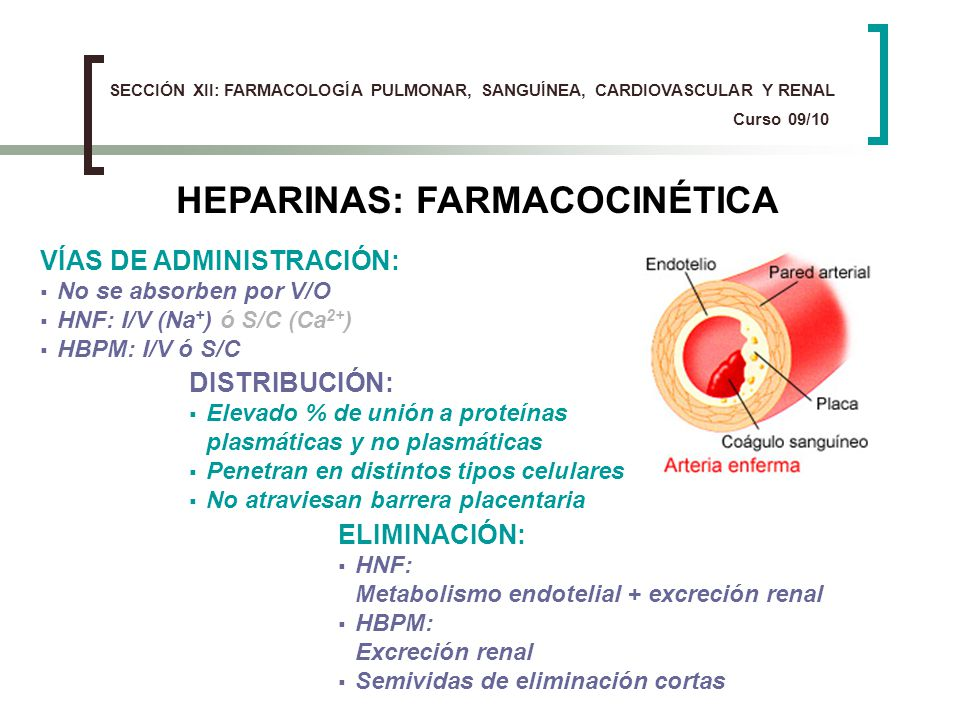 HEPARINAS: FARMACOCINÉTICA