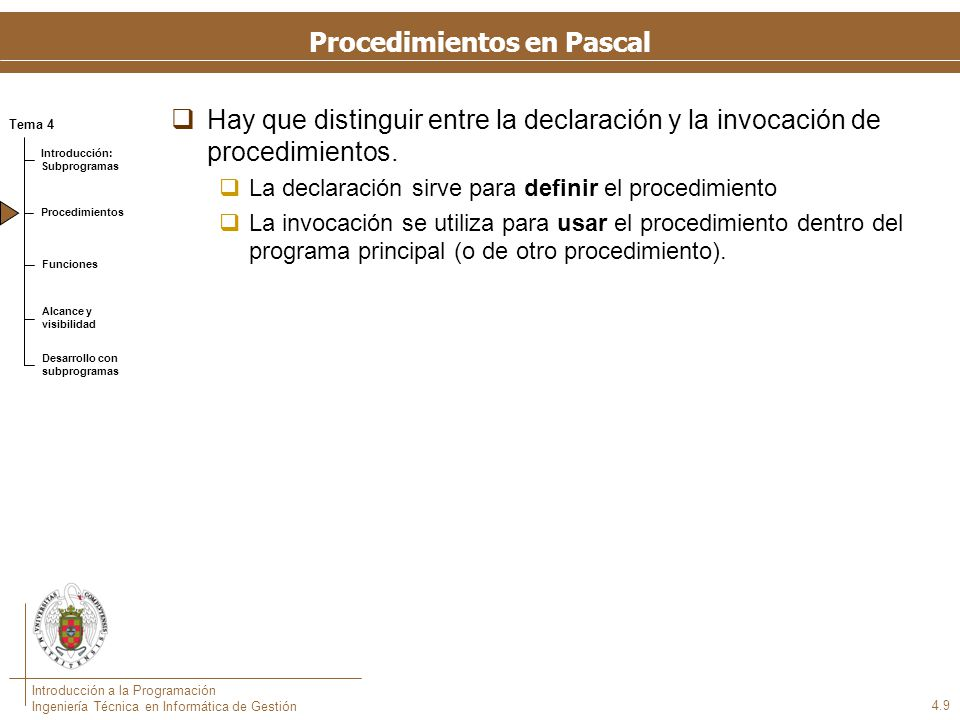 Ejemplo de un procedimiento en Pascal