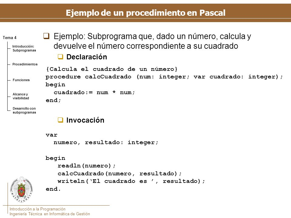 Ejemplo de un programa con procedimientos