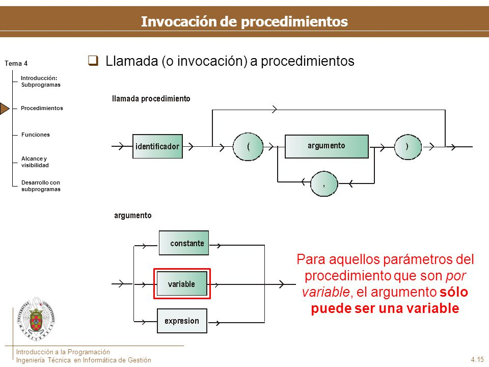 Invocación de procedimientos