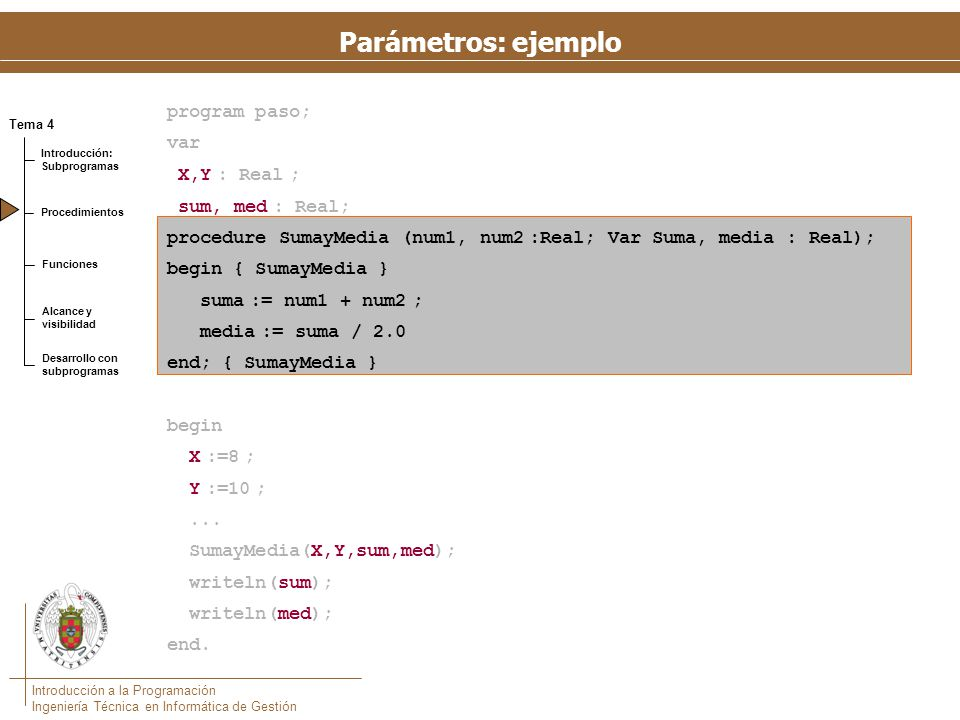 El programa usa correctamente los parámetros de entrada y salida