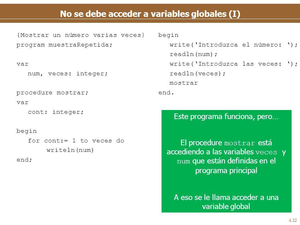 No se debe acceder a variables globales (II)