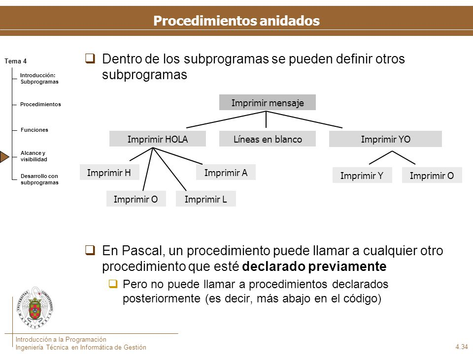 Visibilidad de Procedimientos