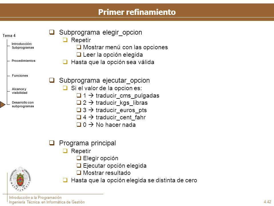 Subprograma mostrar_menu