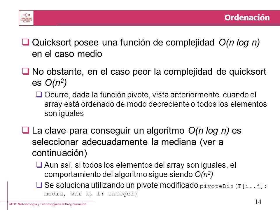 Quicksort posee una función de complejidad O(n log n) en el caso medio