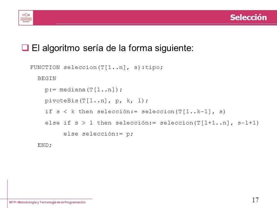 El algoritmo sería de la forma siguiente: