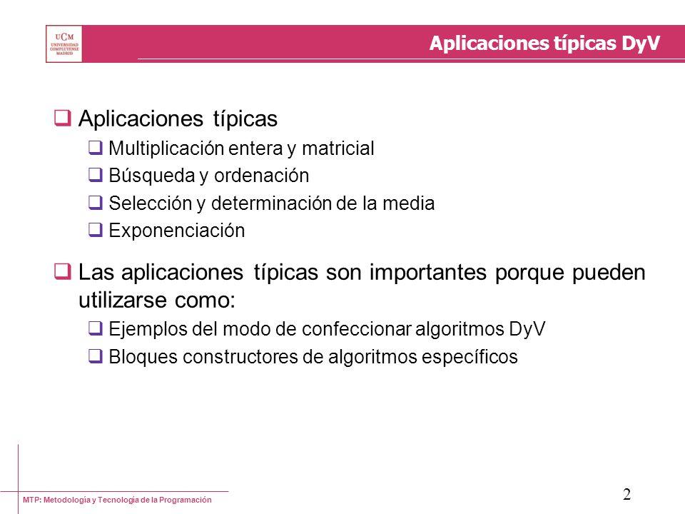 Aplicaciones típicas DyV