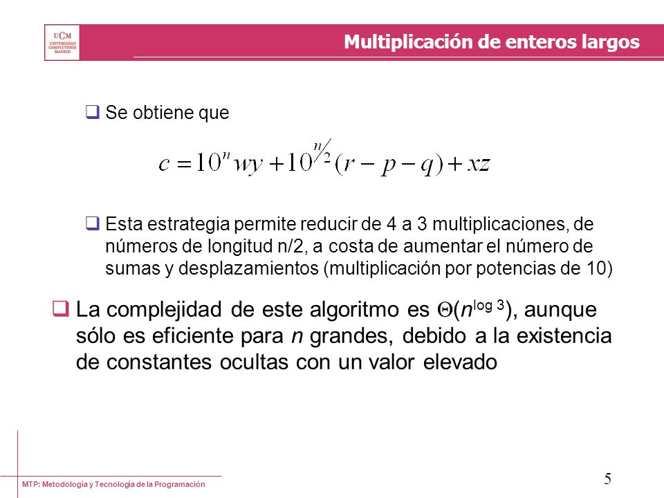 Multiplicación de enteros largos