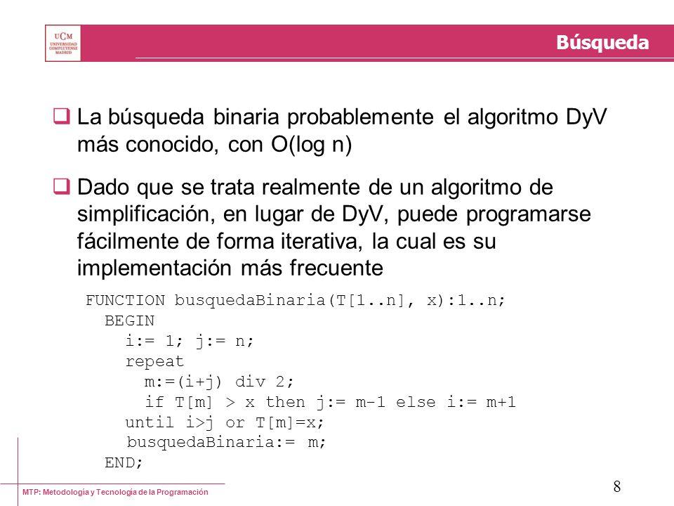 Búsqueda La búsqueda binaria probablemente el algoritmo DyV más conocido, con O(log n)
