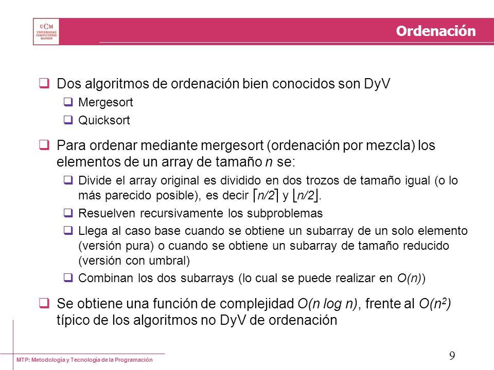 Dos algoritmos de ordenación bien conocidos son DyV