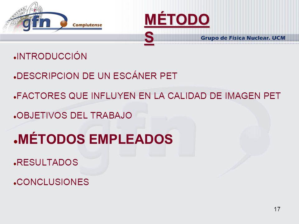MÉTODOS MÉTODOS EMPLEADOS INTRODUCCIÓN DESCRIPCION DE UN ESCÁNER PET