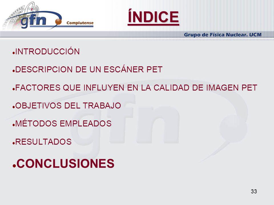 ÍNDICE CONCLUSIONES INTRODUCCIÓN DESCRIPCION DE UN ESCÁNER PET