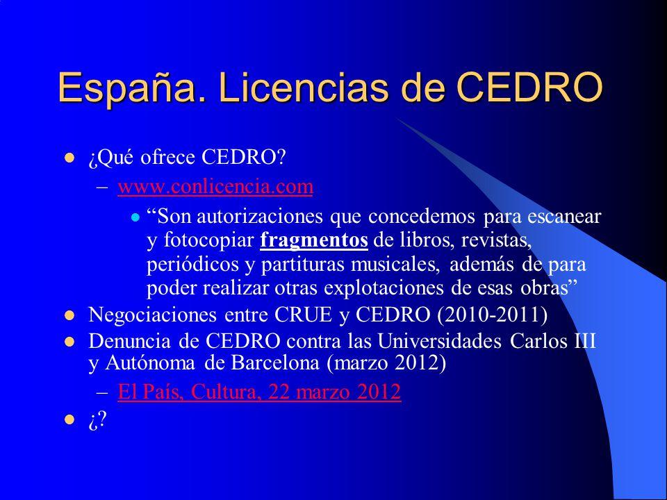 España. Licencias de CEDRO