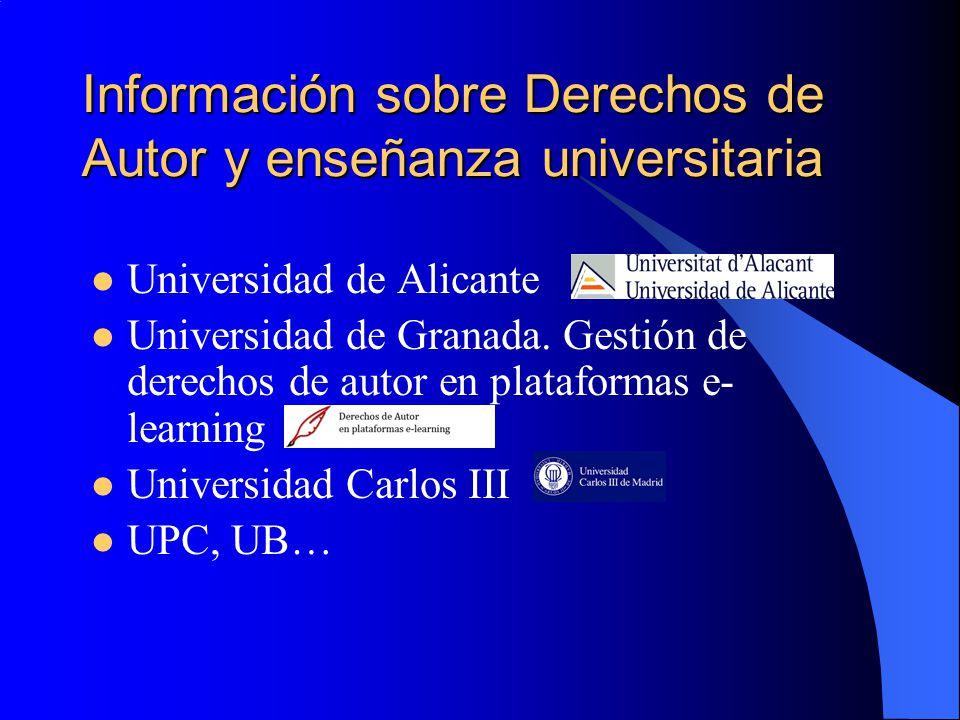 Información sobre Derechos de Autor y enseñanza universitaria