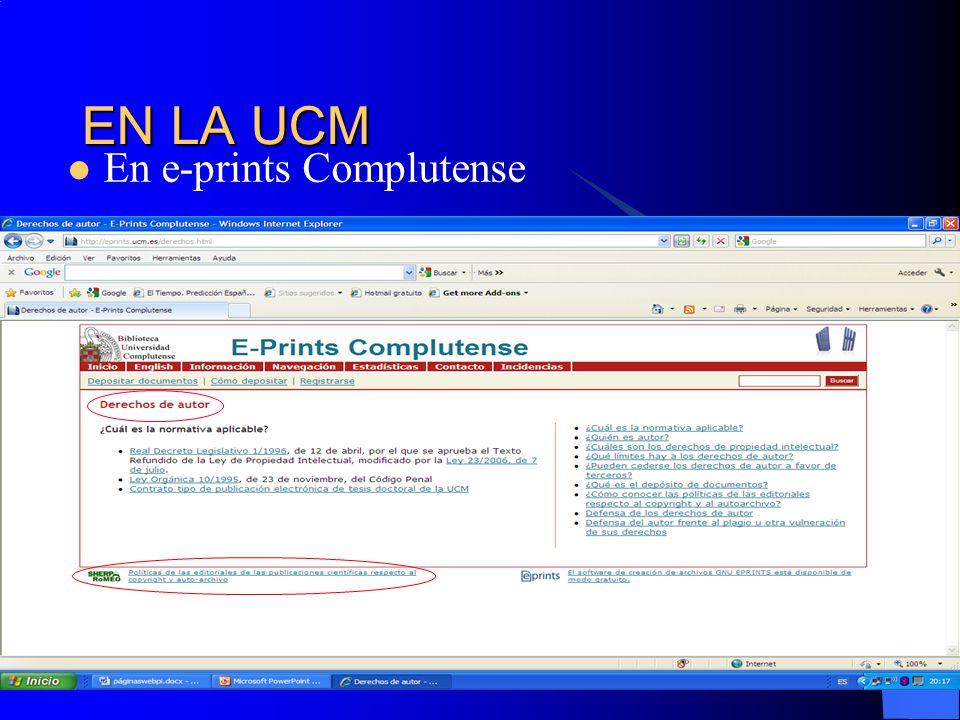 EN LA UCM En e-prints Complutense