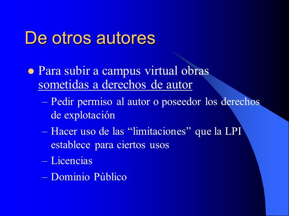 De otros autores Para subir a campus virtual obras sometidas a derechos de autor. Pedir permiso al autor o poseedor los derechos de explotación.