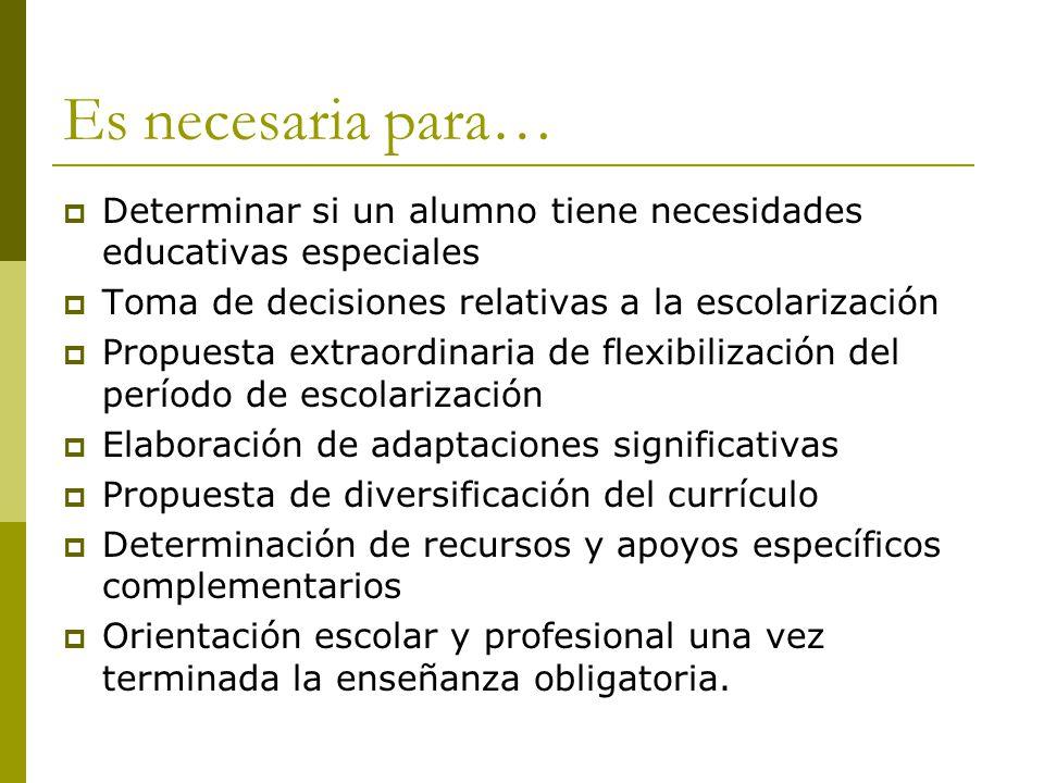 Es necesaria para… Determinar si un alumno tiene necesidades educativas especiales. Toma de decisiones relativas a la escolarización.