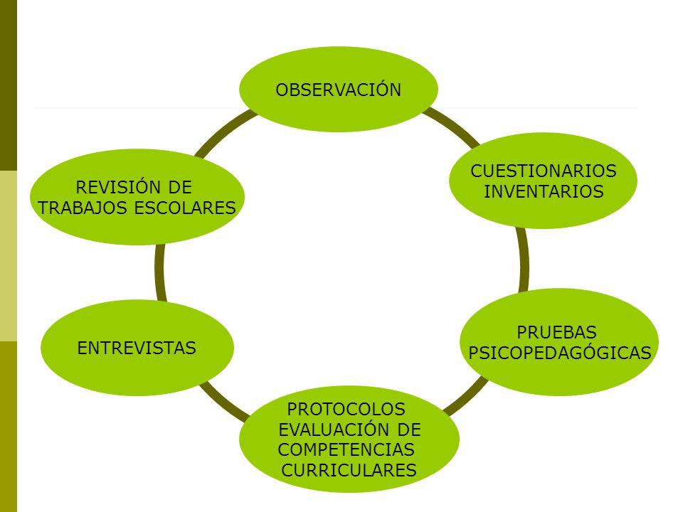 OBSERVACIÓN CUESTIONARIOS. INVENTARIOS. REVISIÓN DE. TRABAJOS ESCOLARES. PRUEBAS. PSICOPEDAGÓGICAS.