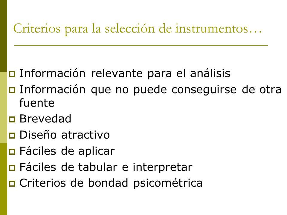 Criterios para la selección de instrumentos…